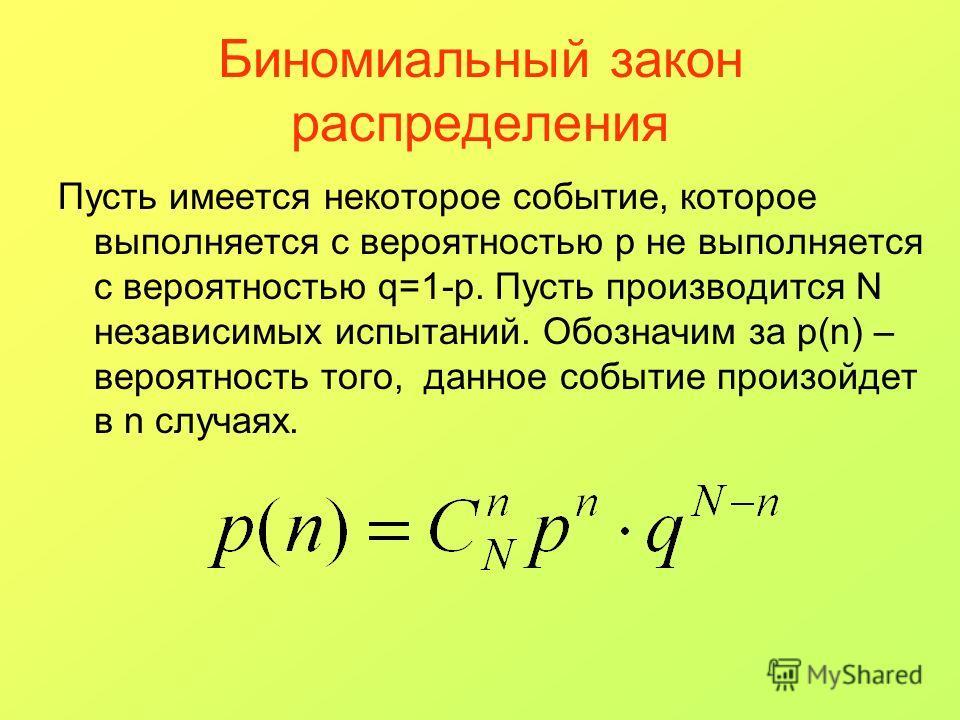 Биномиальный закон распределения Пусть имеется некоторое событие, которое выполняется с вероятностью p не выполняется с вероятностью q=1-p. Пусть производится N независимых испытаний. Обозначим за p(n) – вероятность того, данное событие произойдет в