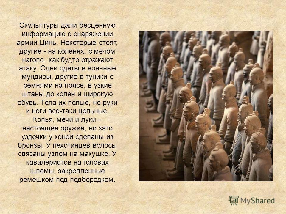Скульптуры дали бесценную информацию о снаряжении армии Цинь. Некоторые стоят, другие - на коленях, с мечом наголо, как будто отражают атаку. Одни одеты в военные мундиры, другие в туники с ремнями на поясе, в узкие штаны до колен и широкую обувь. Те