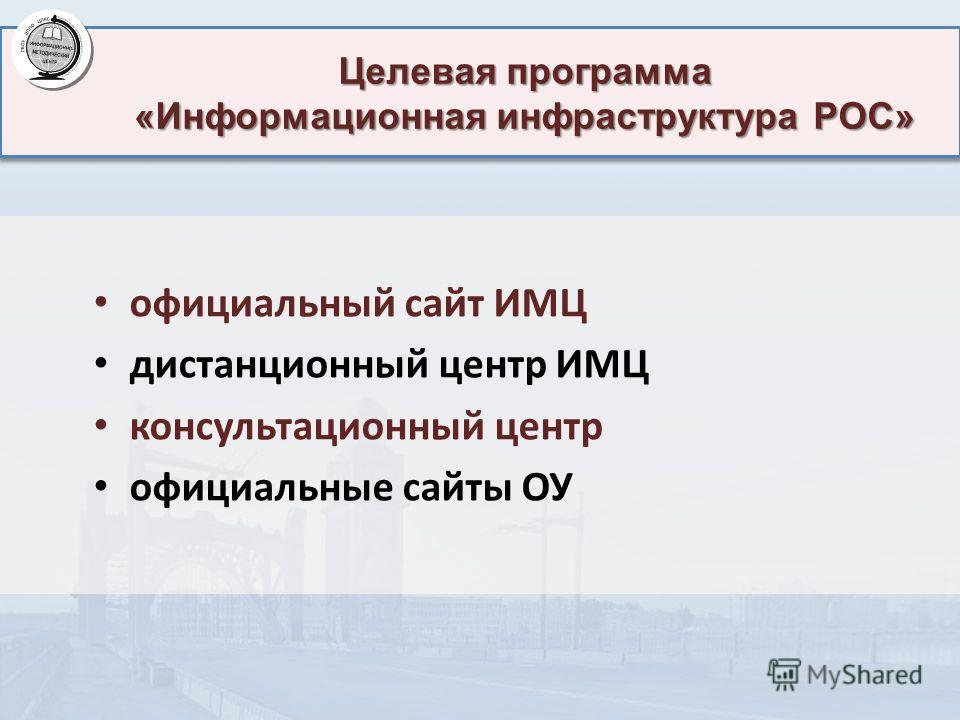 Целевая программа «Информационная инфраструктура РОС» официальный сайт ИМЦ дистанционный центр ИМЦ консультационный центр официальные сайты ОУ