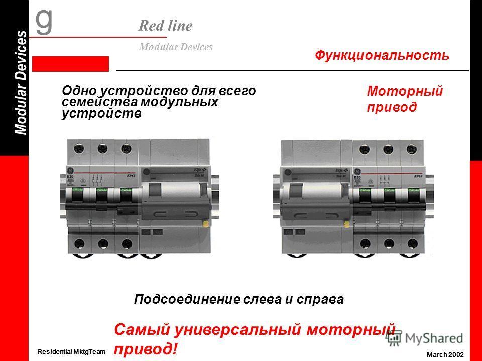 Modular Devices g Red line Modular Devices Residential MktgTeam March 2002 Функциональность Моторный привод Одно устройство для всего семейства модульных устройств Подсоединение слева и справа Самый универсальный моторный привод!