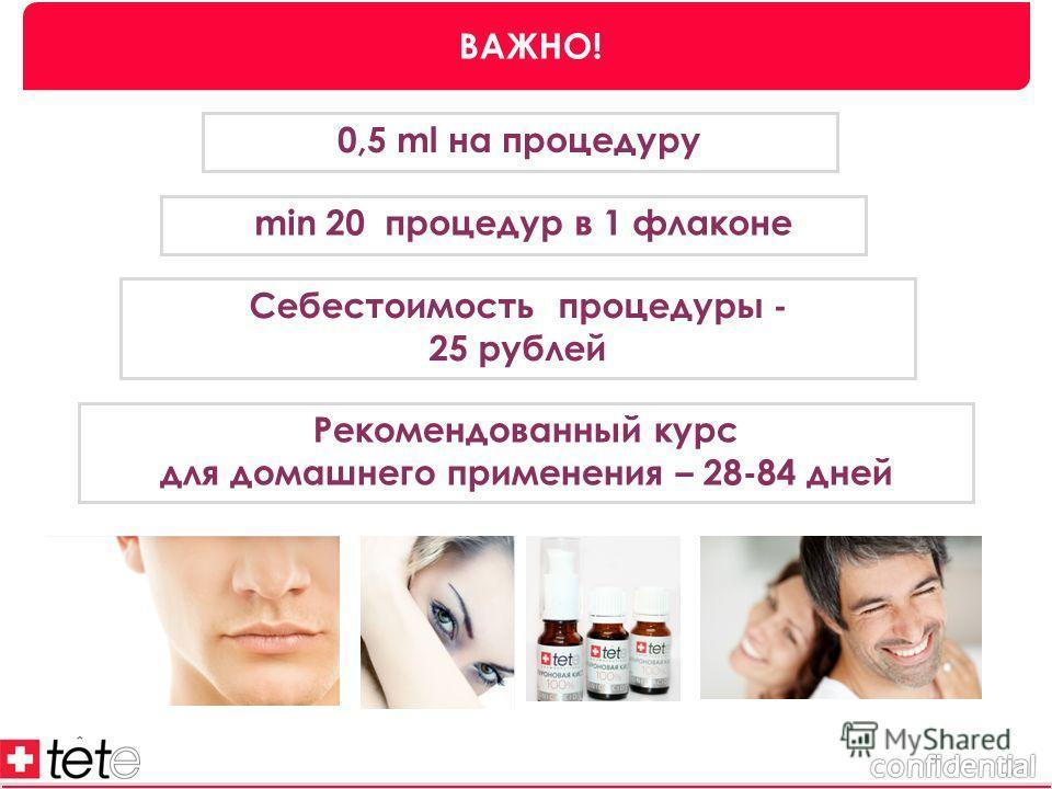 0,5 ml на процедуру min 20 процедур в 1 флаконе Себестоимость процедуры - 25 рублей ВАЖНО! Рекомендованный курс для домашнего применения – 28-84 дней