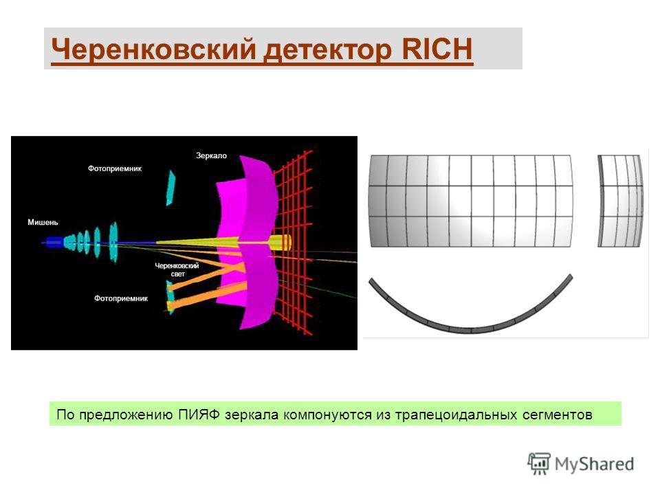 Черенковский детектор RICH По предложению ПИЯФ зеркала компонуются из трапецоидальных сегментов