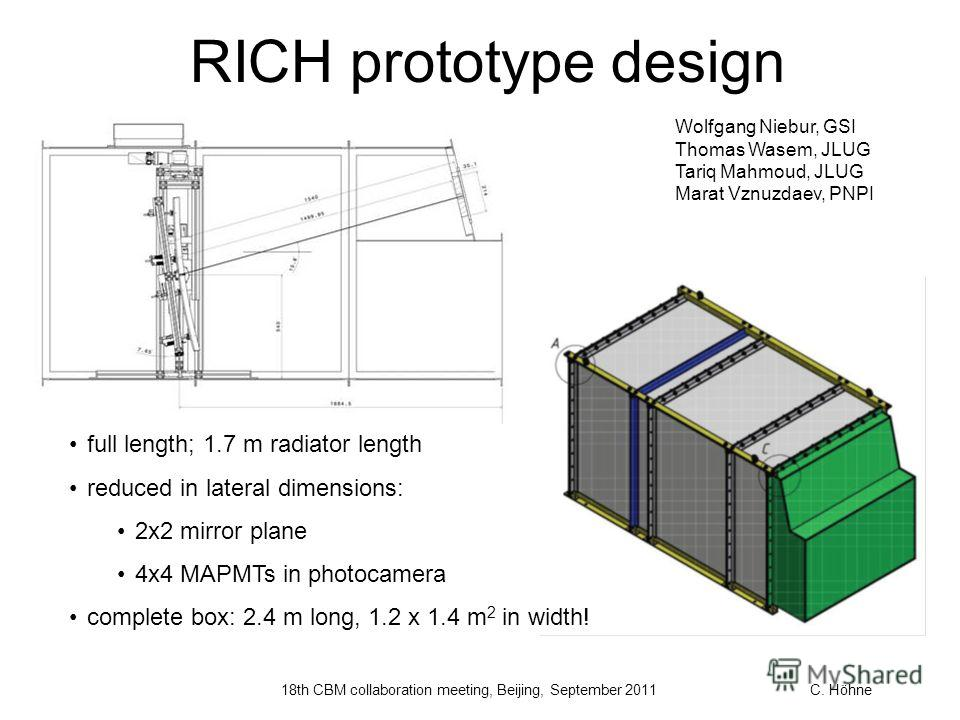 RICH prototype design full length; 1.7 m radiator length reduced in lateral dimensions: 2x2 mirror plane 4x4 MAPMTs in photocamera complete box: 2.4 m long, 1.2 x 1.4 m 2 in width! Wolfgang Niebur, GSI Thomas Wasem, JLUG Tariq Mahmoud, JLUG Marat Vzn