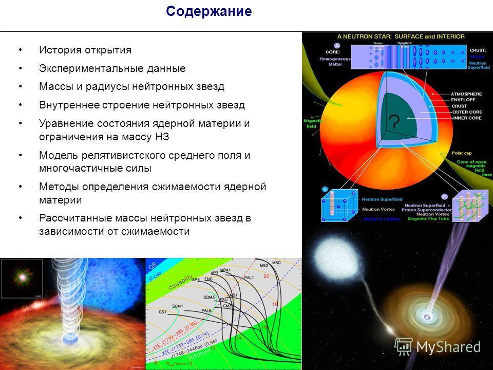 2 Содержание История открытия Экспериментальные данные Массы и радиусы нейтронных звезд Внутреннее строение нейтронных звезд Уравнение состояния ядерной материи и ограничения на массу НЗ Модель релятивистского среднего поля и многочастичные силы Мето