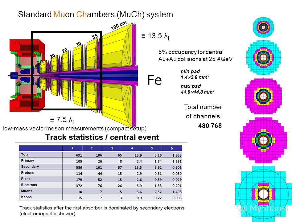 Standard Muon Chambers (MuCh) system low-mass vector meson measurements (compact setup) 7.5 λ I 13.5 λ I Fe 20 20 20 30 35 100 cm 5% occupancy for central Au+Au collisions at 25 AGeV Total number of channels: 480 768 min pad 1.4 2.8 mm 2 max pad 44.8