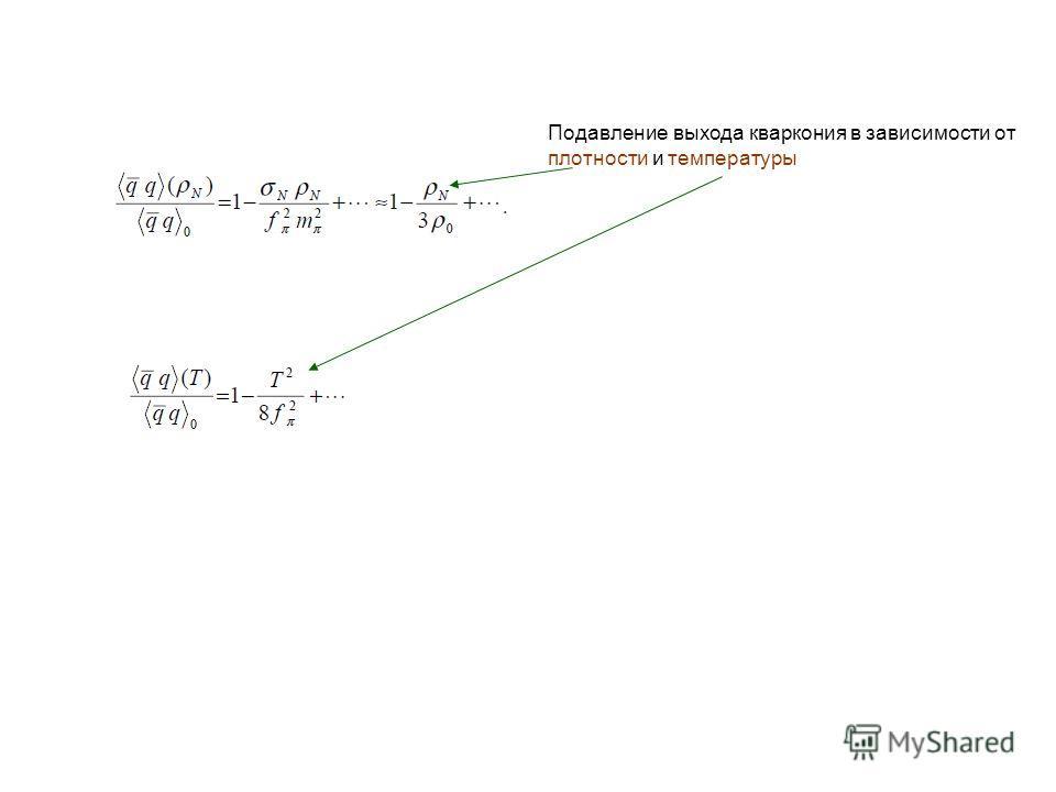 Подавление выхода кваркония в зависимости от плотности и температуры
