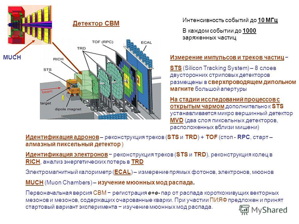 MUCH Детектор СВМ Интенсивность событий до 10 МГц В каждом событии до 1000 заряженных частиц Измерение импульсов и треков частиц STS (Silicon Tracking System) – 8 слоев двусторонних стриповых детекторов размещены в сверхпроводящем дипольном магните б