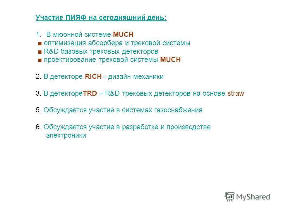 Участие ПИЯФ на сегодняшний день: 1.В мюонной системе MUCH оптимизация абсорбера и трековой системы R&D базовых трековых детекторов проектирование трековой системы MUCH 2. В детекторе RICH - дизайн механики 3. В детектореTRD – R&D трековых детекторов