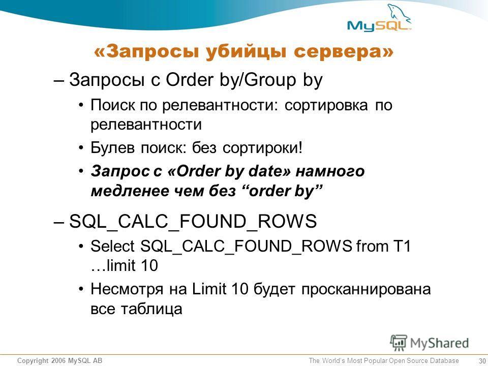 30 Copyright 2006 MySQL AB The Worlds Most Popular Open Source Database «Запросы убийцы сервера» –Запросы с Order by/Group by Поиск по релевантности: сортировка по релевантности Булев поиск: без сортироки! Запрос с «Order by date» намного медленее че