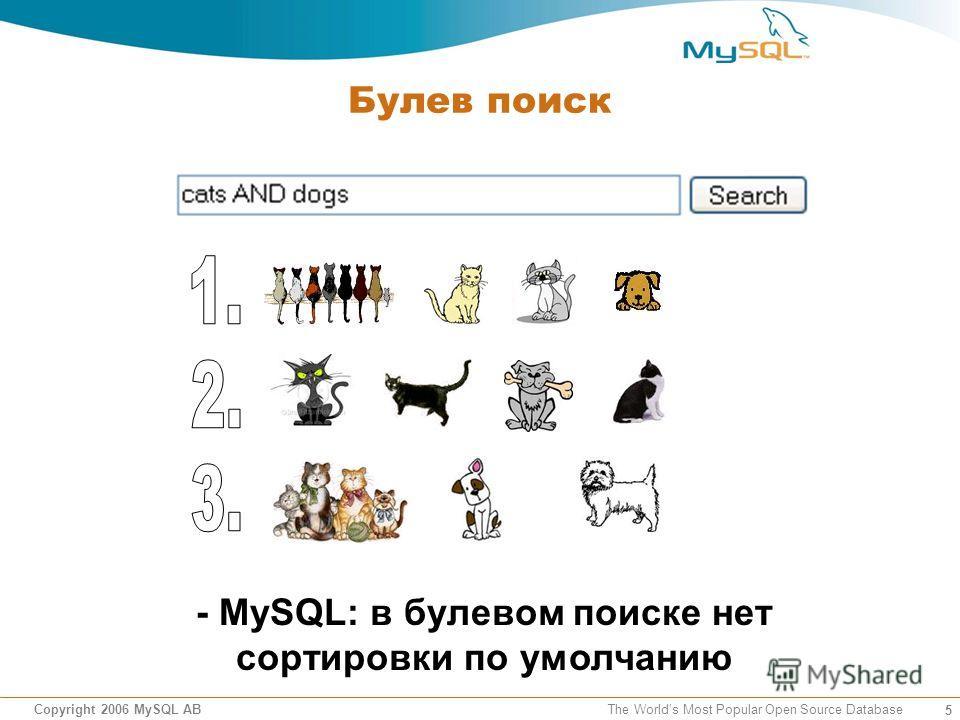 5 Copyright 2006 MySQL AB The Worlds Most Popular Open Source Database Булев поиск - MySQL: в булевом поиске нет сортировки по умолчанию