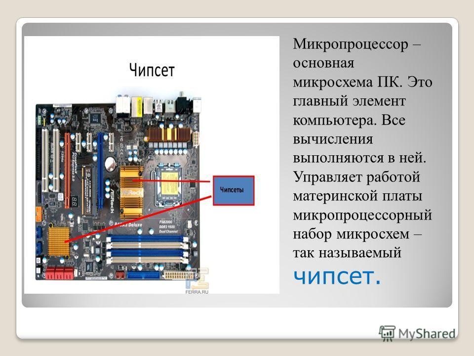 Микропроцессор – основная микросхема ПК. Это главный элемент компьютера. Все вычисления выполняются в ней. Управляет работой материнской платы микропроцессорный набор микросхем – так называемый чипсет.