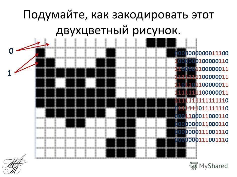 Подумайте, как закодировать этот двухцветный рисунок. 0 1 0000000000011100 1000000100000110 1100001100000011 1111111100000011 1101101100000011 1111111100000011 1111111111111110 0111111011111110 0001100011000110 0000000011000110 0000000111001110 00000