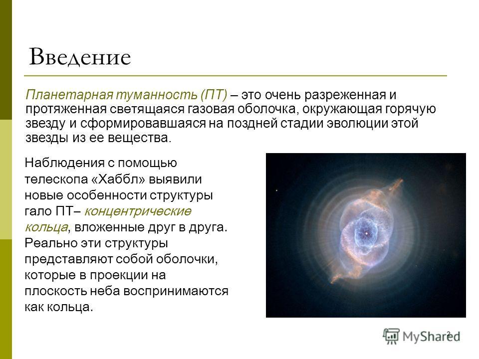 2 Введение Наблюдения с помощью телескопа «Хаббл» выявили новые особенности структуры гало ПТ– концентрические кольца, вложенные друг в друга. Реально эти структуры представляют собой оболочки, которые в проекции на плоскость неба воспринимаются как