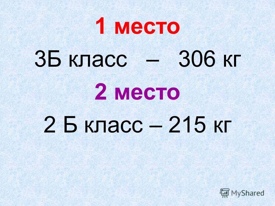 1 место 3Б класс – 306 кг 2 место 2 Б класс – 215 кг
