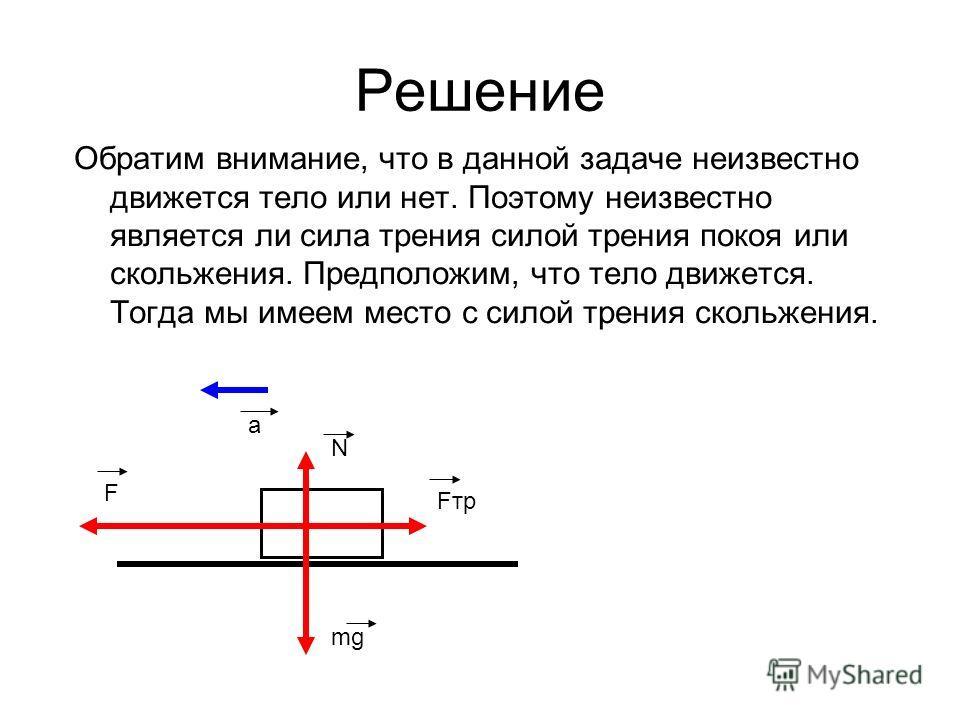Решение Обратим внимание, что в данной задаче неизвестно движется тело или нет. Поэтому неизвестно является ли сила трения силой трения покоя или скольжения. Предположим, что тело движется. Тогда мы имеем место с силой трения скольжения. N mg Fтр F a