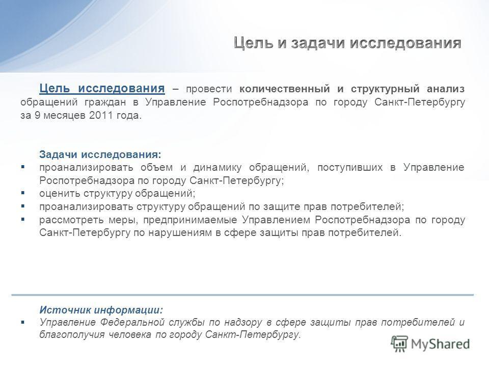 Цель исследования – провести количественный и структурный анализ обращений граждан в Управление Роспотребнадзора по городу Санкт-Петербургу за 9 месяцев 2011 года. Задачи исследования: проанализировать объем и динамику обращений, поступивших в Управл