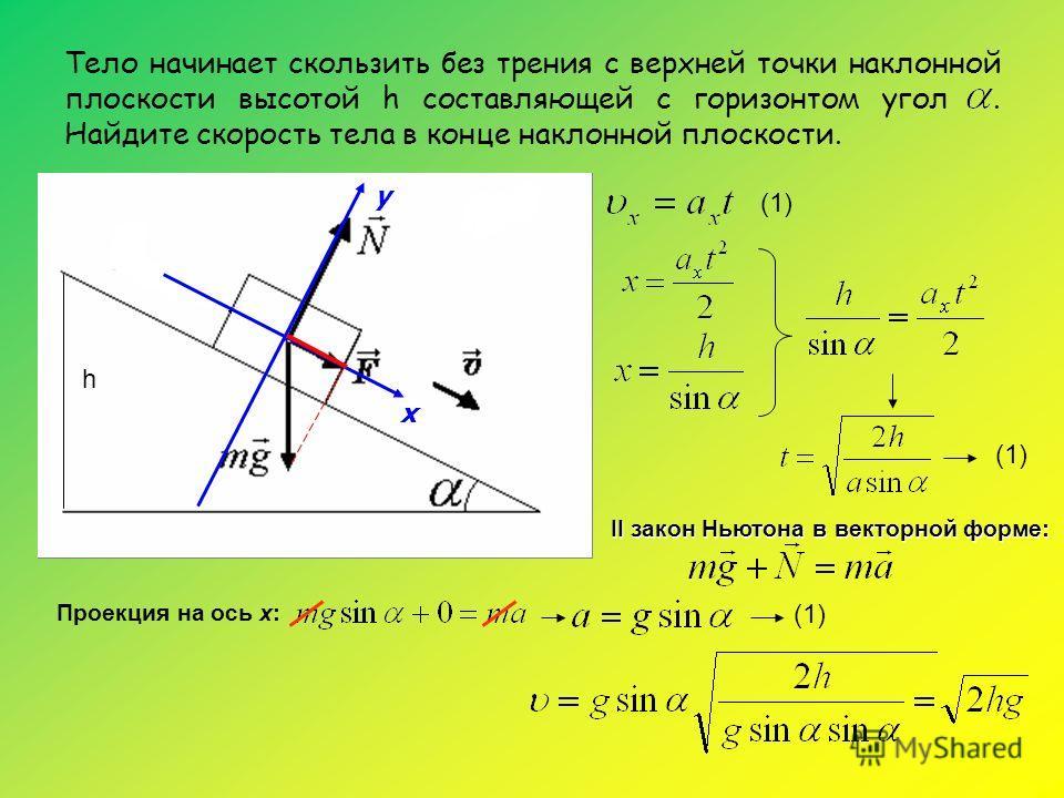 Тело начинает скользить без трения с верхней точки наклонной плоскости высотой h составляющей с горизонтом угол. Найдите скорость тела в конце наклонной плоскости. у х II закон Ньютона в векторной форме: (1) h Проекция на ось х: (1)