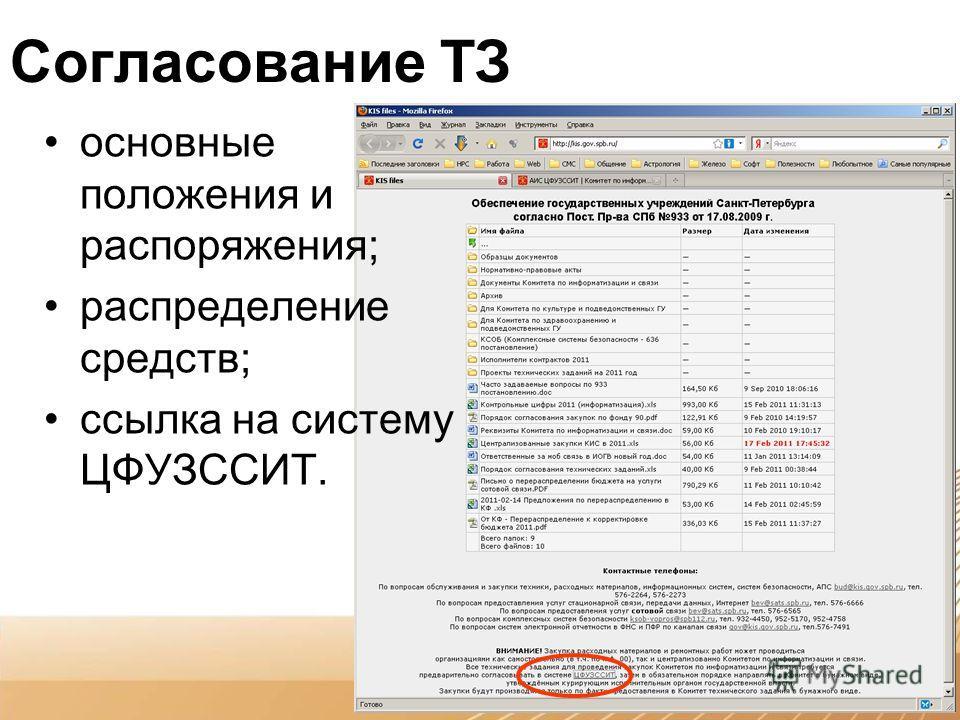 Согласование ТЗ основные положения и распоряжения; распределение средств; ссылка на систему ЦФУЗССИТ.
