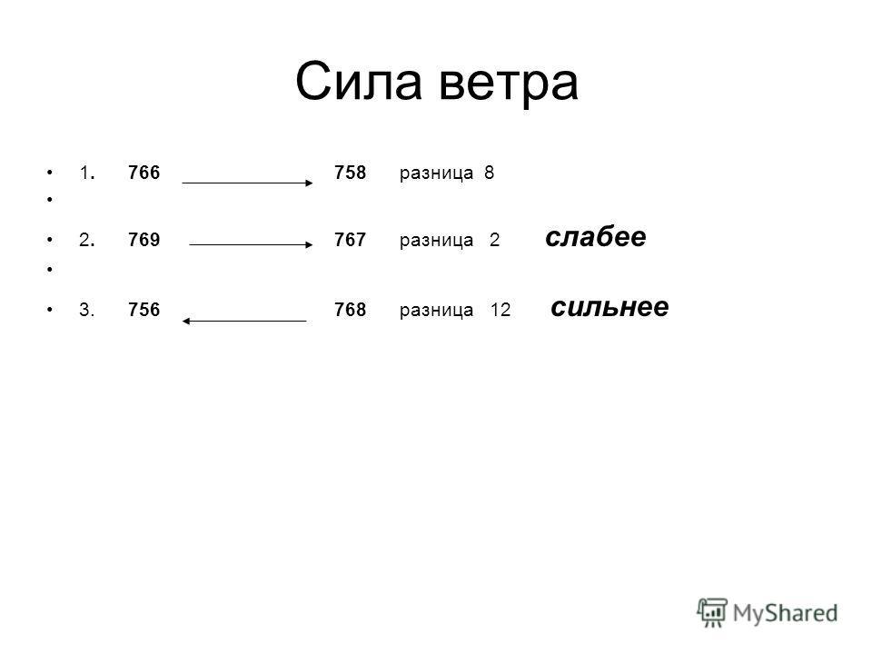 Сила ветра 1. 766 758 разница 8 2. 769 767 разница 2 слабее 3. 756 768 разница 12 сильнее