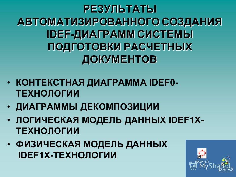 РЕЗУЛЬТАТЫ АВТОМАТИЗИРОВАННОГО СОЗДАНИЯ IDEF-ДИАГРАММ СИСТЕМЫ ПОДГОТОВКИ РАСЧЕТНЫХ ДОКУМЕНТОВ КОНТЕКСТНАЯ ДИАГРАММА IDEF0- ТЕХНОЛОГИИ ДИАГРАММЫ ДЕКОМПОЗИЦИИ ЛОГИЧЕСКАЯ МОДЕЛЬ ДАННЫХ IDEF1X- ТЕХНОЛОГИИ ФИЗИЧЕСКАЯ МОДЕЛЬ ДАННЫХ IDEF1X-ТЕХНОЛОГИИ