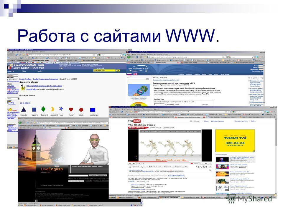 Работа с сайтами WWW.