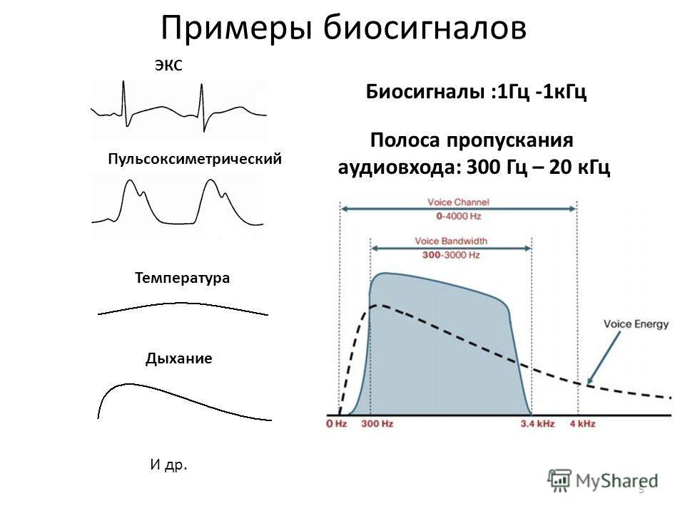 Примеры биосигналов ЭКС Пульсоксиметрический Полоса пропускания аудиовхода: 300 Гц – 20 кГц Температура Дыхание И др. Биосигналы :1Гц -1кГц 5