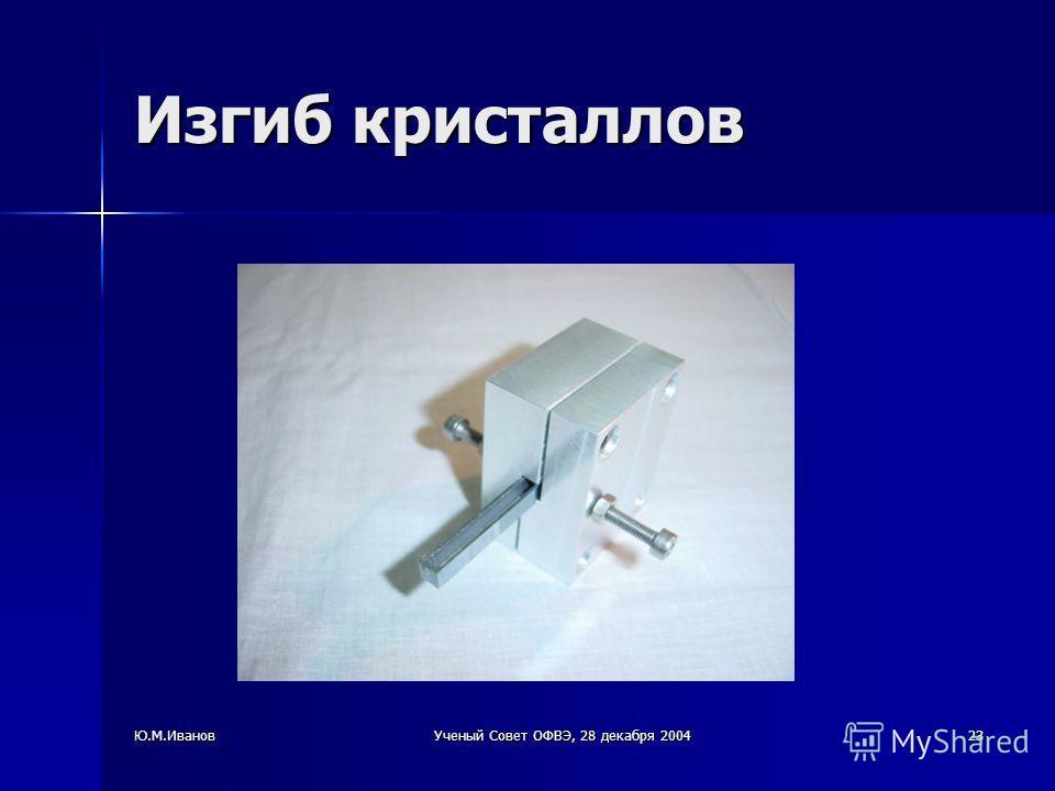 Ю.М.ИвановУченый Совет ОФВЭ, 28 декабря 200423 Изгиб кристаллов