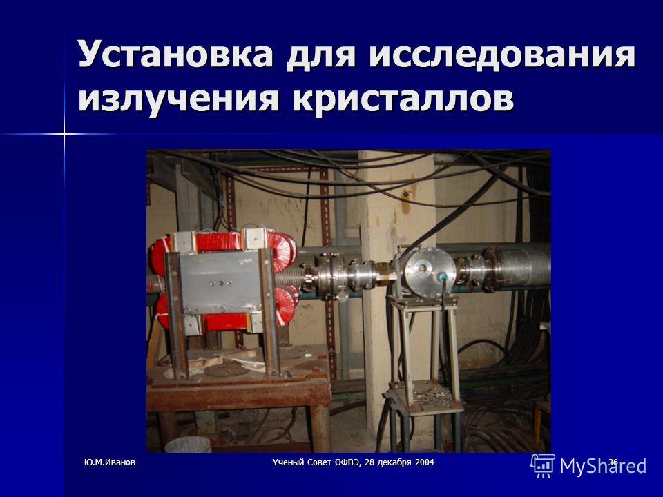 Ю.М.ИвановУченый Совет ОФВЭ, 28 декабря 200436 Установка для исследования излучения кристаллов