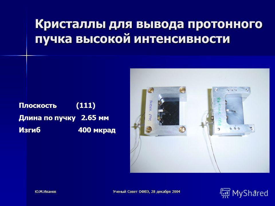 Ю.М.ИвановУченый Совет ОФВЭ, 28 декабря 20045 Кристаллы для вывода протонного пучка высокой интенсивности Плоскость (111) Длина по пучку 2.65 мм Изгиб 400 мкрад