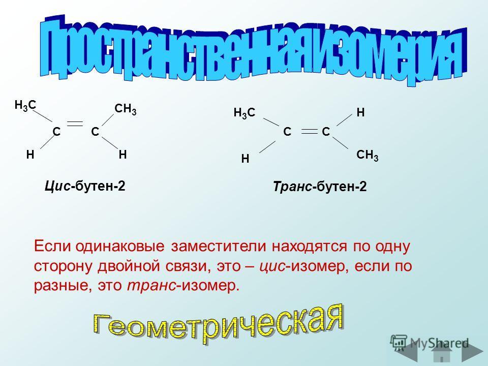 С С H3CH3C СН 3 HH H3CH3C СС H H Цис-бутен-2 Транс-бутен-2 Если одинаковые заместители находятся по одну сторону двойной связи, это – цис-изомер, если по разные, это транс-изомер.