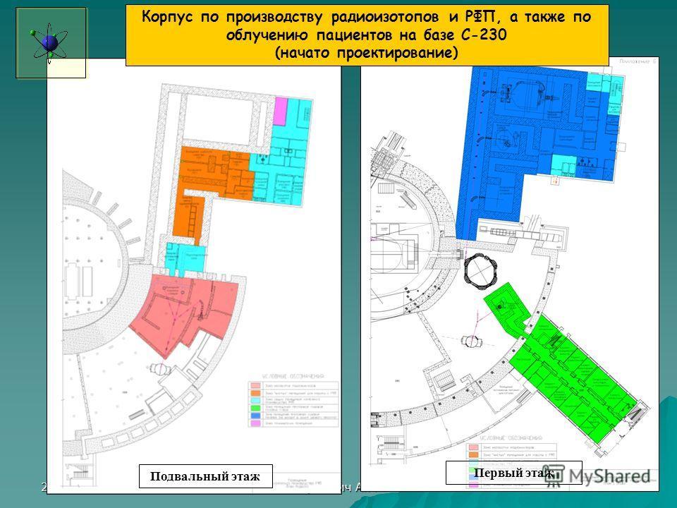 29.09.2011 Крившич А.Г. 12 Подвальный этаж Первый этаж Корпус по производству радиоизотопов и РФП, а также по облучению пациентов на базе С-230 (начато проектирование)