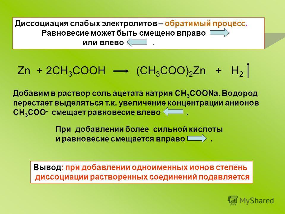 Диссоциация слабых электролитов – обратимый процесс. Равновесие может быть смещено вправо или влево. Zn + 2CH 3 COOH (CH 3 COO) 2 Zn + H 2 Добавим в раствор соль ацетата натрия CH 3 COONa. Водород перестает выделяться т.к. увеличение концентрации ани