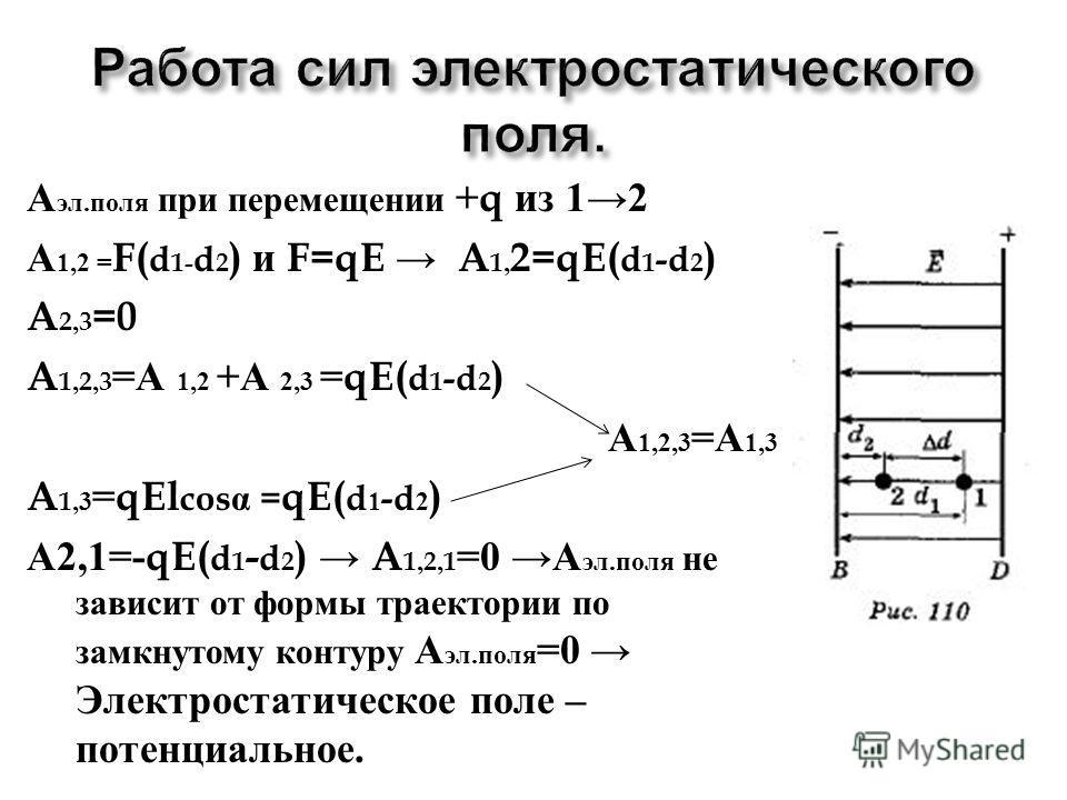 А эл. поля при перемещении +q из 12 А 1,2 = F( d 1- d 2 ) и F=qE A 1, 2=qE( d 1 -d 2 ) A 2,3 =0 A 1,2,3 = А 1,2 + А 2,3 =qE( d 1 -d 2 ) А 1,2,3 = А 1,3 A 1,3 =qEl cos = qE( d 1 -d 2 ) А 2,1=-qE( d 1 - d 2 ) A 1,2,1 =0 А эл. поля не зависит от формы т
