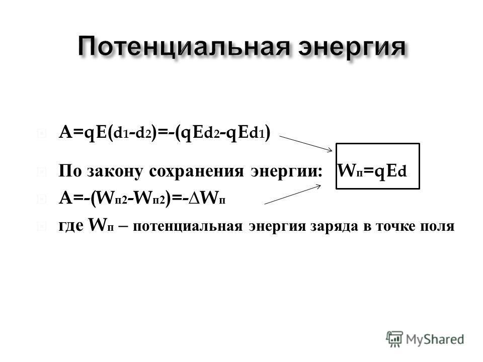 A=qE( d 1 - d 2 )=-(qE d 2 -qE d 1 ) По закону сохранения энергии : W п =qE d A=-(W п 2 -W п 2 )=-W п где W п – потенциальная энергия заряда в точке поля