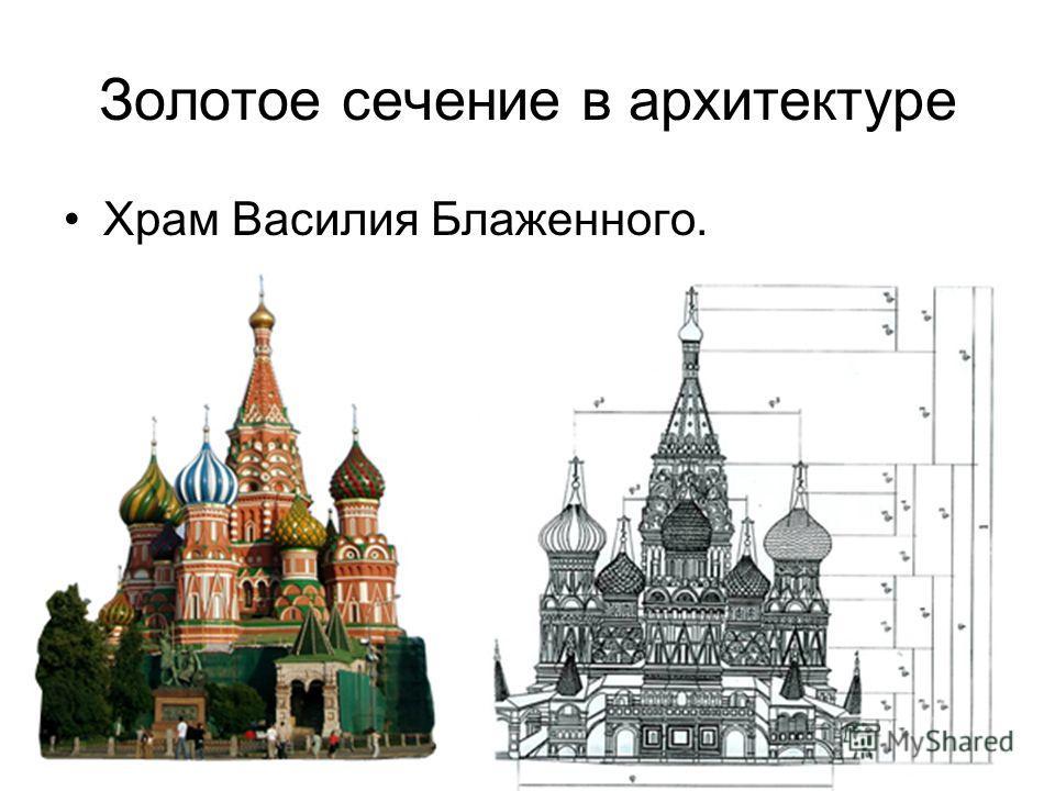 Золотое сечение в архитектуре Храм Василия Блаженного.