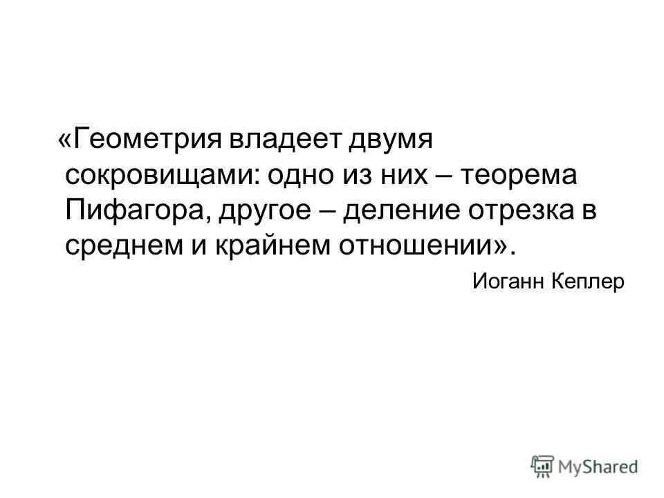 «Геометрия владеет двумя сокровищами: одно из них – теорема Пифагора, другое – деление отрезка в среднем и крайнем отношении». Иоганн Кеплер