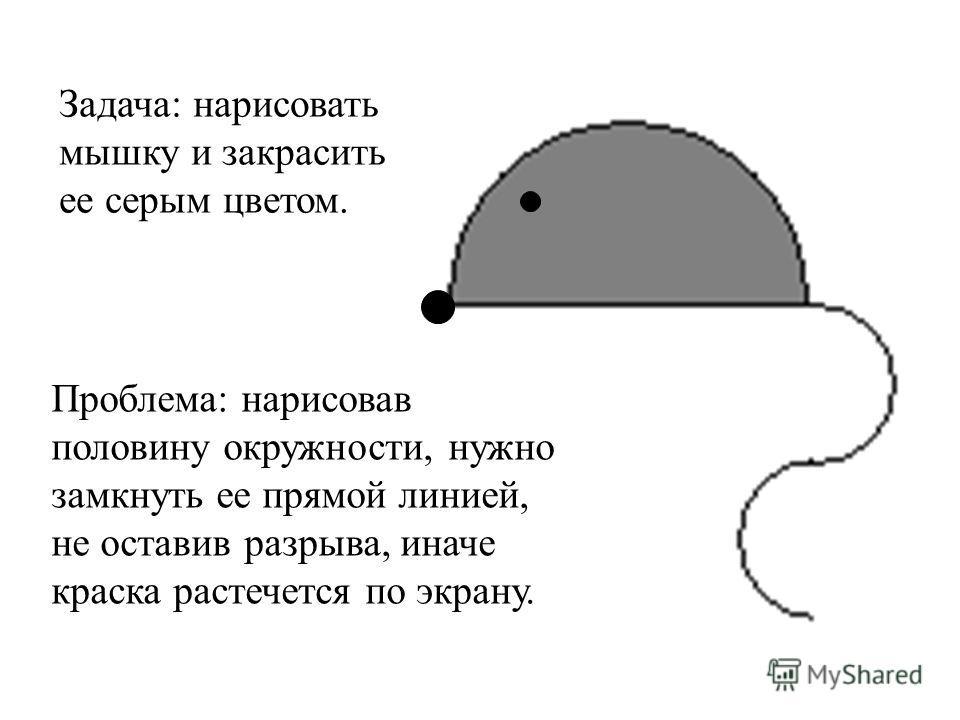 Задача: нарисовать мышку и закрасить ее серым цветом. Проблема: нарисовав половину окружности, нужно замкнуть ее прямой линией, не оставив разрыва, иначе краска растечется по экрану.