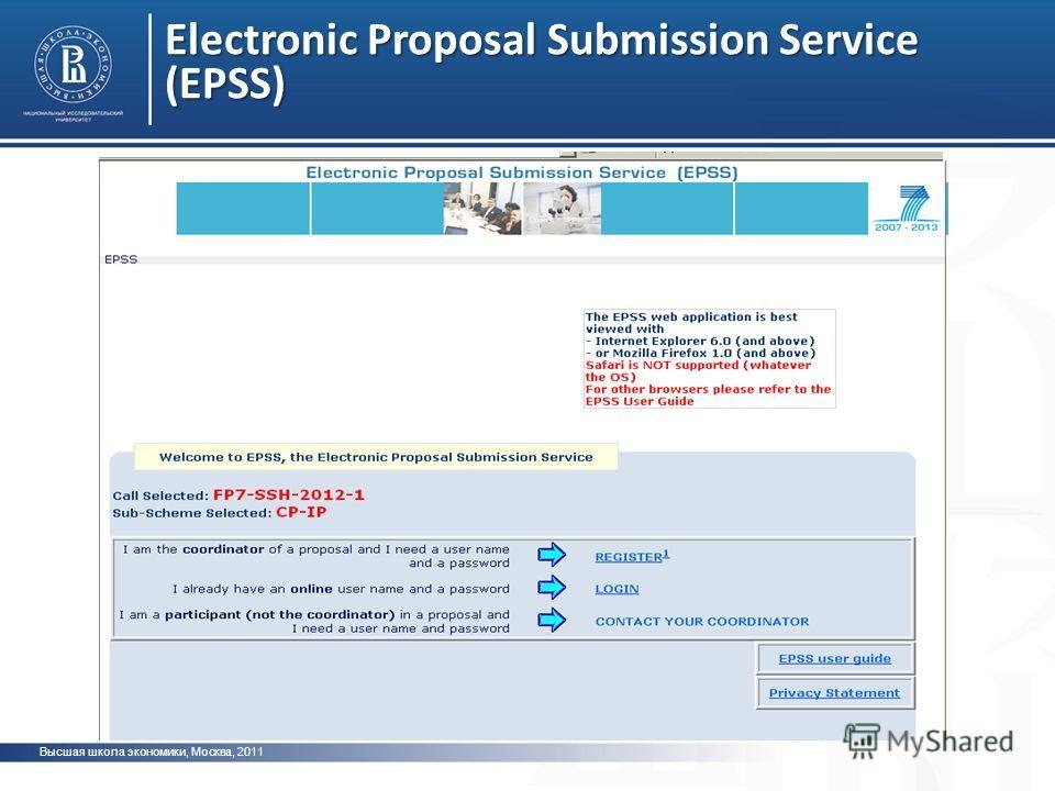 Electronic Proposal Submission Service (EPSS) Высшая школа экономики, Москва, 2011