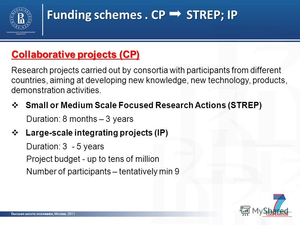 Funding schemes. CP STREP; IP Высшая школа экономики, Москва, 2011 Collaborative projects (CP) Research projects carried out by consortia with participants from different countries, aiming at developing new knowledge, new technology, products, demons