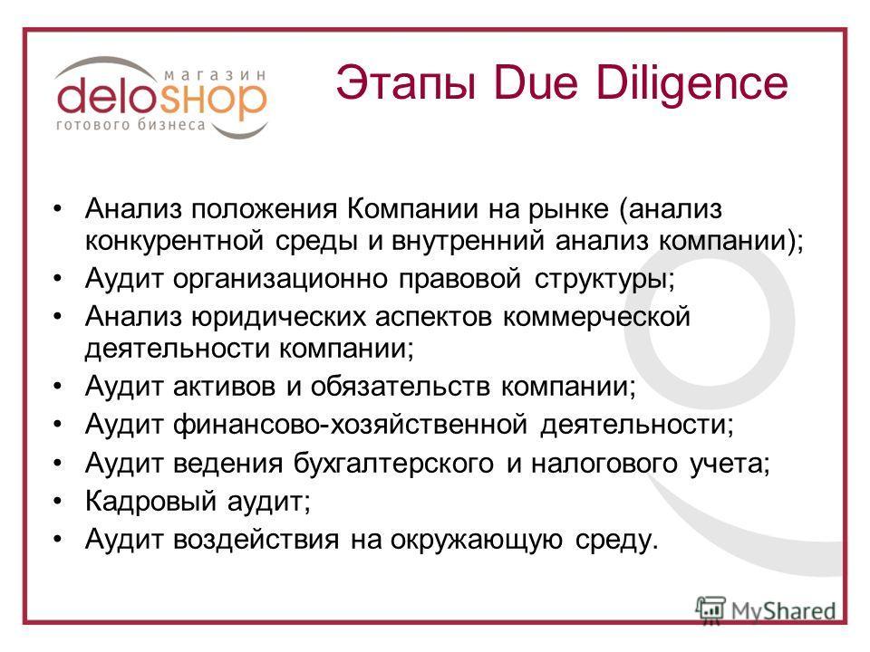 Анализ положения Компании на рынке (анализ конкурентной среды и внутренний анализ компании); Аудит организационно правовой структуры; Анализ юридических аспектов коммерческой деятельности компании; Аудит активов и обязательств компании; Аудит финансо