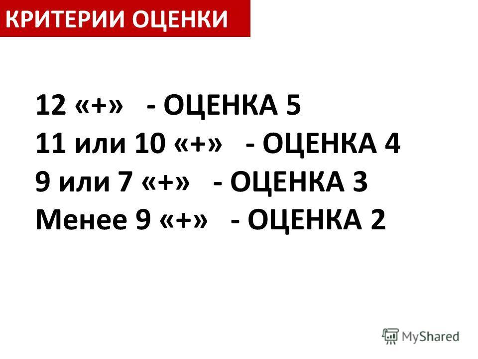 КРИТЕРИИ ОЦЕНКИ 12 «+» - ОЦЕНКА 5 11 или 10 «+» - ОЦЕНКА 4 9 или 7 «+» - ОЦЕНКА 3 Менее 9 «+» - ОЦЕНКА 2