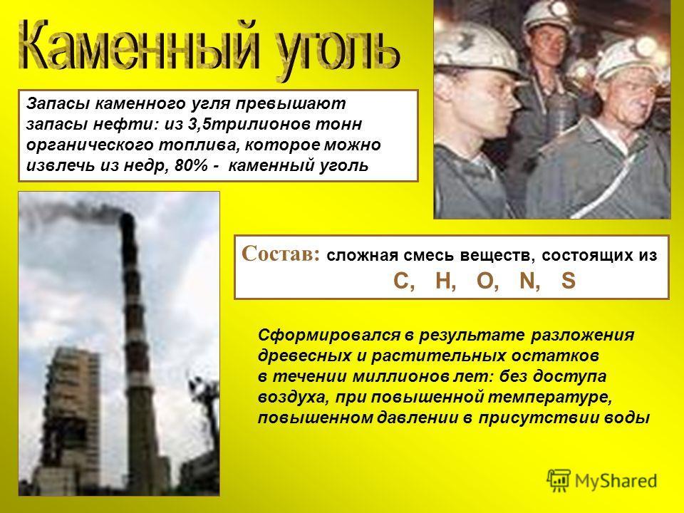 Запасы каменного угля превышают запасы нефти: из 3,5трилионов тонн органического топлива, которое можно извлечь из недр, 80% - каменный уголь Состав: сложная смесь веществ, состоящих из С, Н, О, N, S Сформировался в результате разложения древесных и