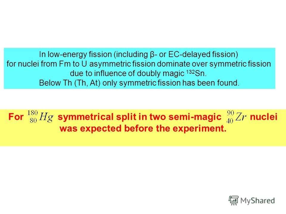 For symmetrical split in two semi-magic nuclei was expected before the experiment. In low-energy fission (including β- or EC-delayed fission) for nuclei from Fm to U asymmetric fission dominate over symmetric fission due to influence of doubly magic