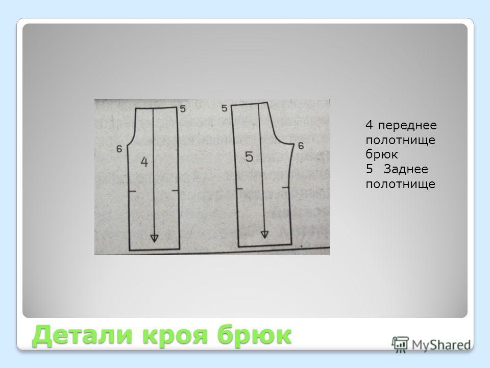 Детали кроя брюк 4 переднее полотнище брюк 5Заднее полотнище