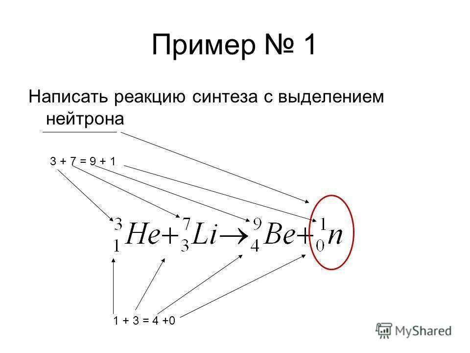 Пример 1 Написать реакцию синтеза с выделением нейтрона 3 + 7 = 9 + 1 1 + 3 = 4 +0