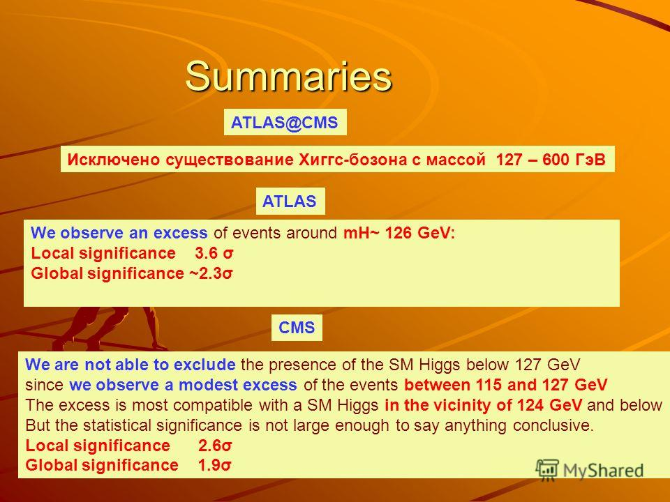 Summaries We observe an excess of events around mH~ 126 GeV: Local significance 3.6 σ Global significance ~2.3σ ATLAS CMS We are not able to exclude the presence of the SM Higgs below 127 GeV since we observe a modest excess of the events between 115