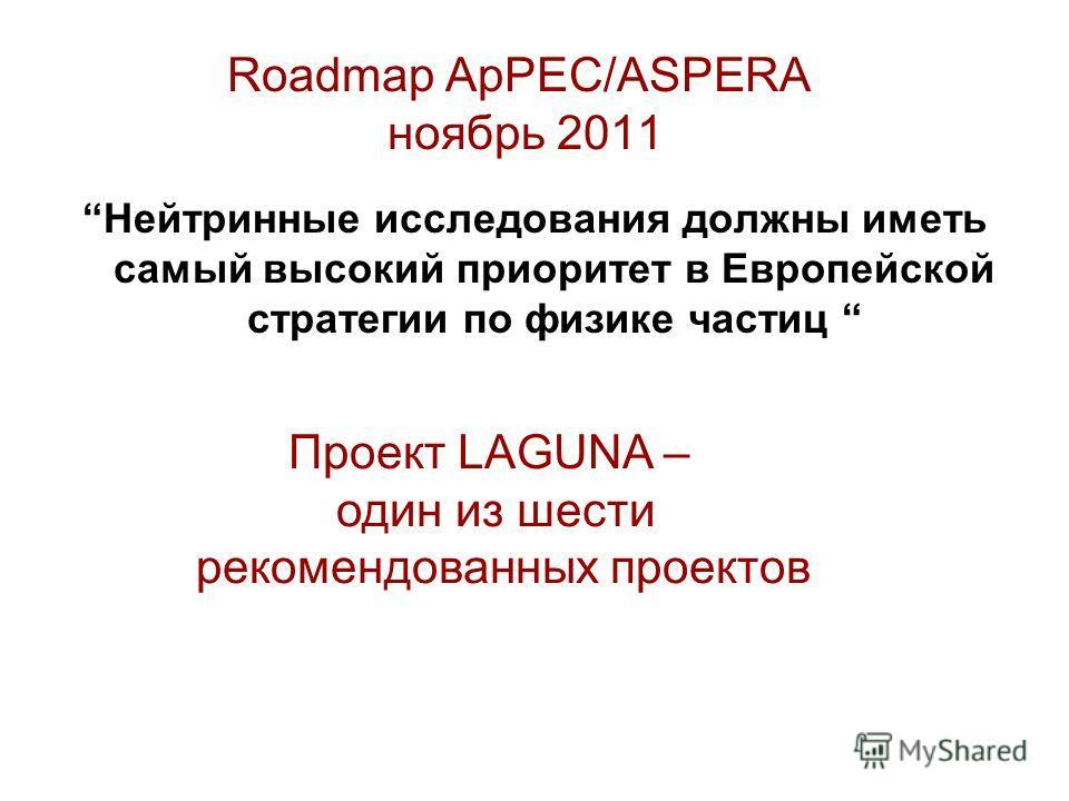 Roadmap ApPEC/ASPERA ноябрь 2011 Нейтринные исследования должны иметь самый высокий приоритет в Европейской стратегии по физике частиц Проект LAGUNA – один из шести рекомендованных проектов