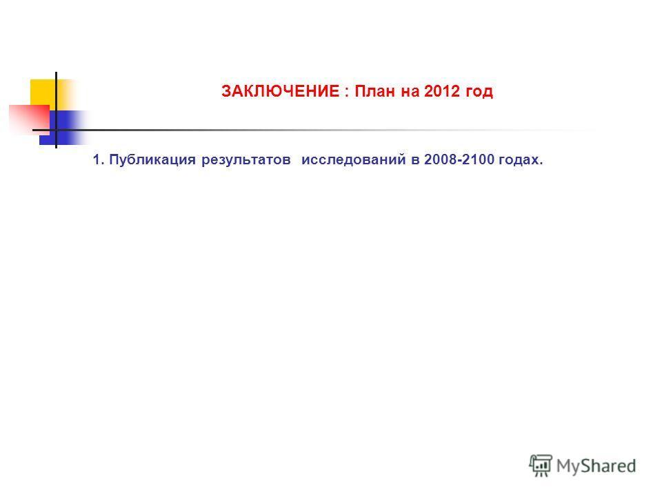 1. Публикация результатов исследований в 2008-2100 годах. ЗАКЛЮЧЕНИЕ : План на 2012 год