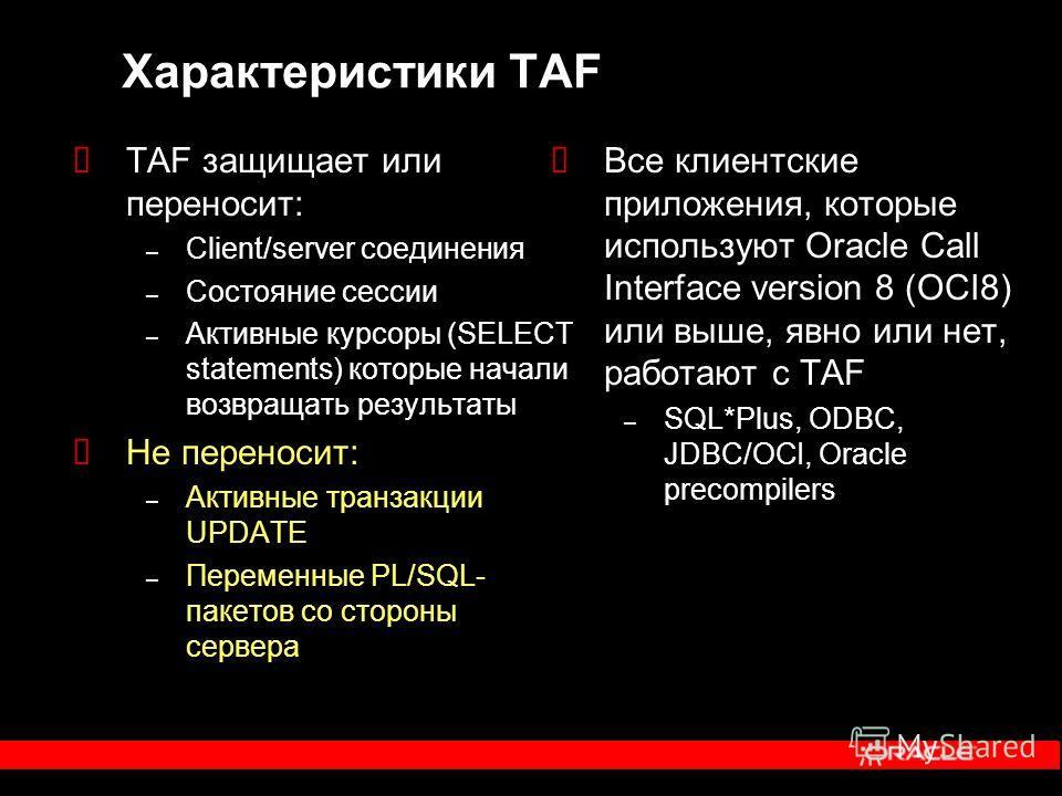 Характеристики TAF TAF защищает или переносит: – Client/server соединения – Состояние сессии – Активные курсоры (SELECT statements) которые начали возвращать результаты Не переносит: – Активные транзакции UPDATE – Переменные PL/SQL- пакетов со сторон