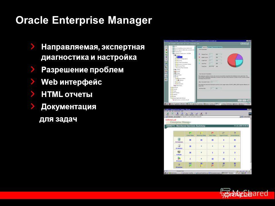 Направляемая, экспертная диагностика и настройка Разрешение проблем Web интерфейс HTML отчеты Документация для задач Oracle Enterprise Manager
